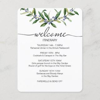 Wedding itinerary welcome card, olive branch enclosure card
