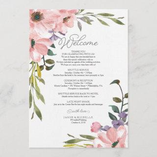 Wedding Itinerary - Welcome Letter Tea Rose Invitation