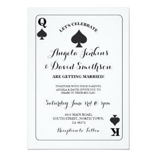 Wedding King Queen Spade Playing Card Ace Invite