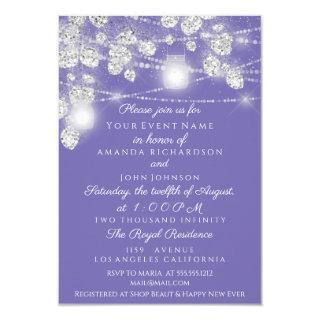 Wedding Lights Jars Glitter Gray Purple Violet Invitations
