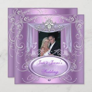Wedding Lilac Purple Pink Silver Ornate Elegant Invitations