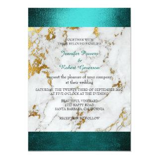 Wedding Marble White Gray Golden Teal Green Invitations
