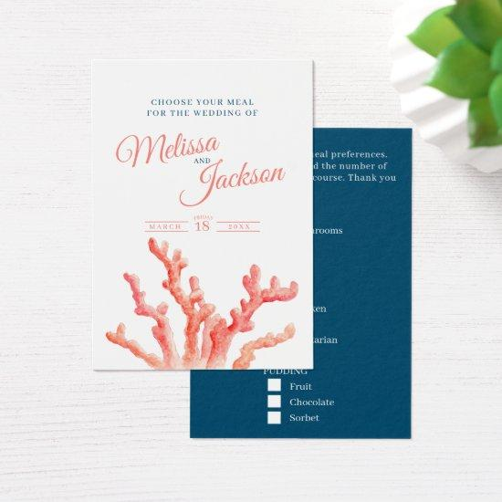 Wedding meal choice coral blue small cards