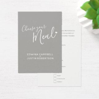 Wedding meal choice script text gray small cards