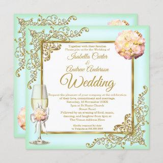 Wedding Mint Coral Champagne Gold Pearl Photo  Invitations