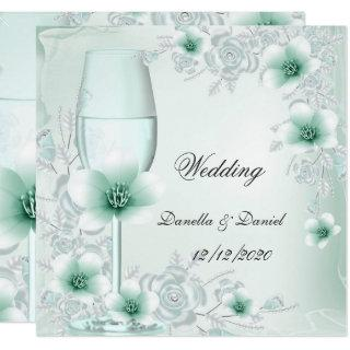 Wedding Mint Green Floral Blossoms Roses Invitations
