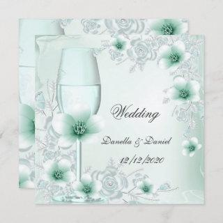 Wedding Mint Green Floral Blossoms Roses Invitation