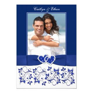 Wedding | Monogram | Blue, White | Floral | PHOTO Invitations