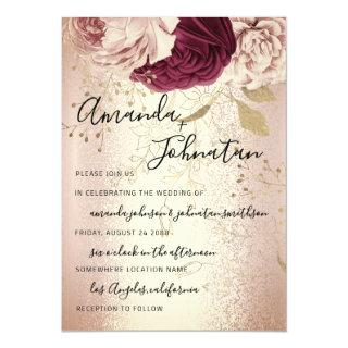 Wedding Monogram Florals BurgundyMarsala Rose Gold Invitation