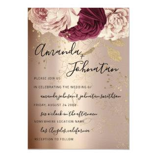 Wedding Monogram Pink Florals Marsala Rose Gold Invitations