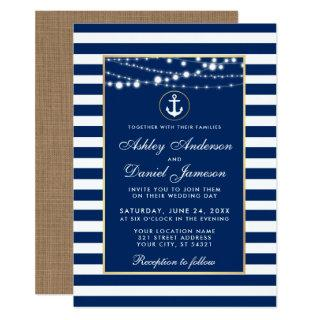 Wedding Nautical Blue Stripes Lights Invite B