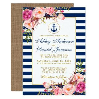 Wedding Nautical Blue Stripes Pink Floral Invite B