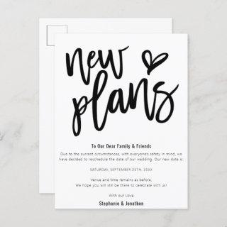 Wedding New Plans Save Date Stylish Script Announcement Postcard