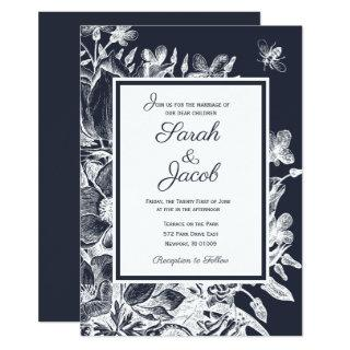 Wedding  Ornate Vintage Floral Navy & White Invitations