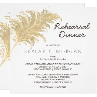 Wedding Pampas Grass Tan On White Rehearsal Invitations