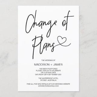Wedding Postponed Notes Change of Plans Engagement Invitations