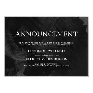 Wedding Postponement Message Formal Black Invitations