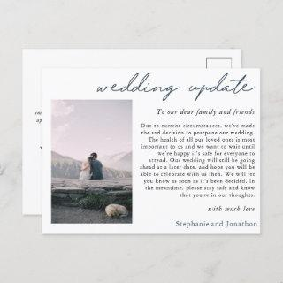 Wedding Postponement Photo Update Modern Script Announcement Postcard