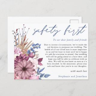 Wedding Postponement Safety First COVID Florals Announcement Postcard