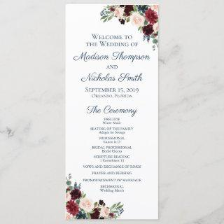 Wedding Program Cards with Navy Marsala Flowers