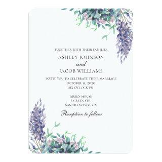 Wedding purple and teal Invitations. Garden flowers Invitations