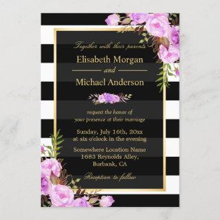 Wedding Purple Floral Gold Black White Stripes Invitation