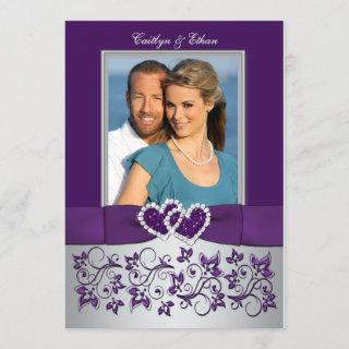 Wedding | Purple, Silver | Floral, Hearts | Photo Invitation