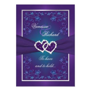 Wedding | Purple, Teal | Floral | Hearts FAUX Foil Invitation