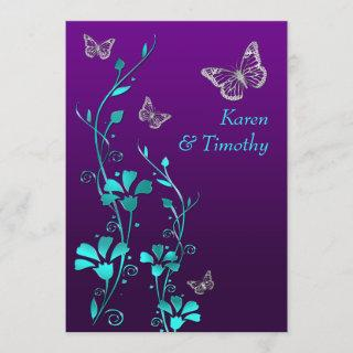 Wedding | Purple Teal Silver, Floral | Butterflies Invitations