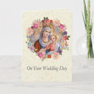 Wedding Queen Mary Flowers Jesus Angels Card