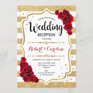Wedding Reception - Gold White Red Invitation