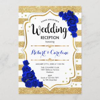 Wedding Reception - Gold White Royal Blue Invitations