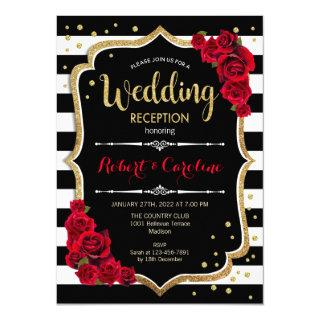 Wedding Reception Invitations Black White Stripes