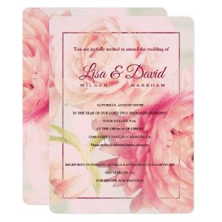 Wedding & Reception Invite-Peonies Invitation