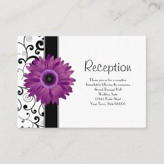 Wedding Reception Purple Gerbera Daisy w/ Scroll Enclosure Card