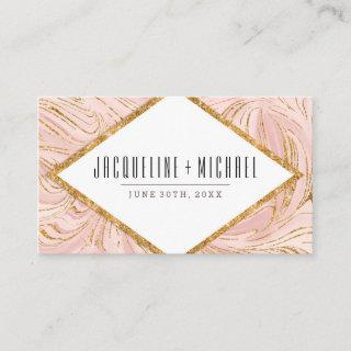 Wedding Reception Rose Gold Glitter Marble Pattern Enclosure Card
