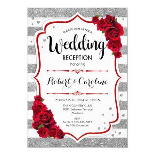 Wedding Reception - Silver White Red Invitation