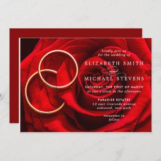 Wedding Red Rose Gold Rings Wedding Invitations