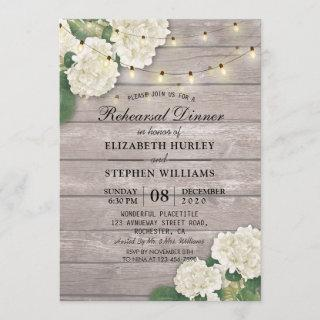 Wedding Rehearsal Dinner Flowers String Light Wood Invitations
