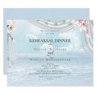 Wedding Rehearsal | Elegant Beach Driftwood Tulle Invitations