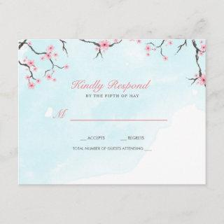 Wedding Response Card | Watercolor Cherry Blossoms