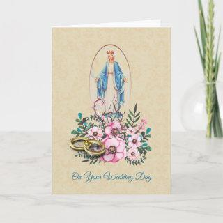 Wedding Rings Virgin Mother Mary with Flowers Card