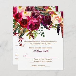 Wedding RSVP Card 2 (MEALS) - Floral, Feathers