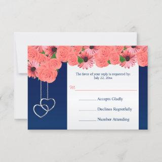 Wedding RSVP Card Coral Flowers and Navy Blue