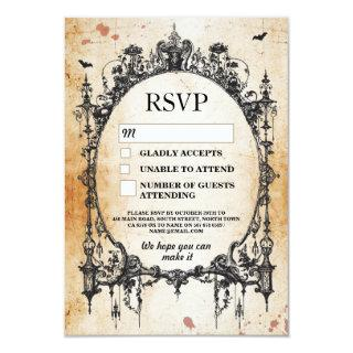 Wedding RSVP Gothic Frame Rustic Halloween Cards