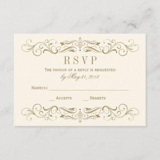 Wedding RSVP Postcard | Antique Gold Flourish