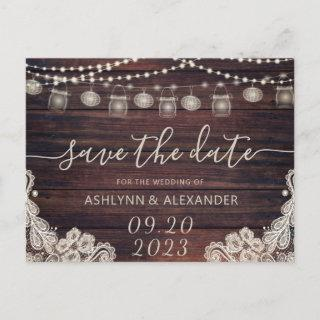 Wedding Rustic Wood Mason Jar Lights SAVE THE DATE Announcement Postcard