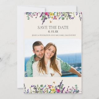 Wedding Save Date Photo Watercolor Wildflowers Save The Date