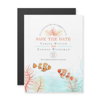 Wedding save the date aquatic coral tropical fish magnetic Invitations
