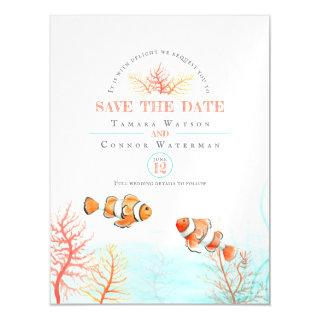Wedding save the date aquatic coral tropical fish magnetic invitation